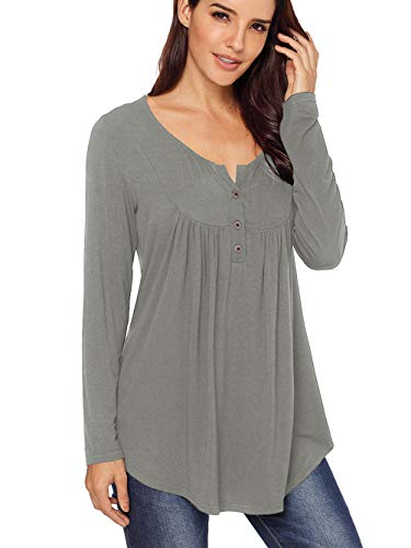Famulily Swing Tunic for Women Long Sleeve Henley V Neck Buttons up Pleated Blouse TOS #2 Grey S