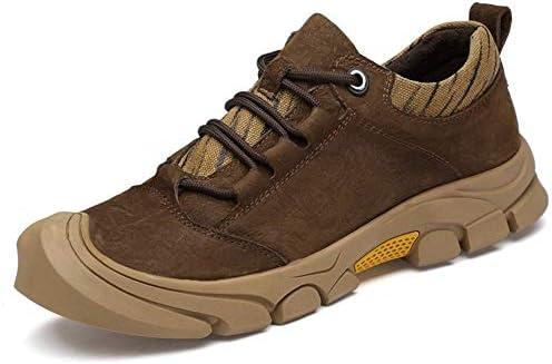 メンズカジュアル登山靴スポーツシューズレースアップレザーカジュアル耐震性ソーイングライト非スリップ、衝突の証拠ラウンドヘッド 快適な男性のために設計