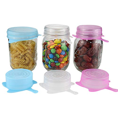 6 Pack Silicone Stretch Lids Small 2.5 inch Reusable Stretch Cover, Silicone Stretch and Seal Lids Fit for 2.6 to 3.4 inch Can Cup Regular and Wide Mouth Mason Jar,BPA Free (Colored 2.5IN)