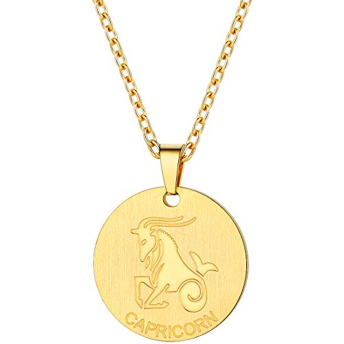 PROSTEEL Capricorn Zodiac Star Sign Coin Necklace 18K Gold Constellation Horoscope Pendant Men Women Jewelry Birthday Gift (Gold Pendant Necklace For Women)