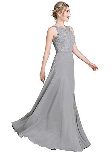 Grau Langes A Spitze Linie Brautjungfernkleid Chiffon Damen Abendkleider zq0gd