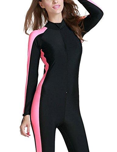 Minetom Damen Badeanzug Neoprenanzug Komfortabel Lange Ärmel Surfanzug Schwimmanzug Full Wetsuit Rosa DE 34