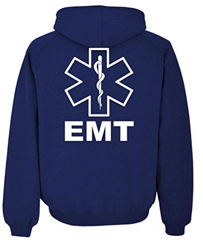 Emt Clothing (v2 EMT - emergency medical technician 911 - Mens Pullover Hoodie, M, Navy)