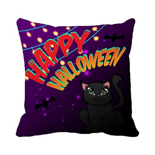 Batmerry Halloween/Thanksgiving Theme Decorations Pillow Covers 18 x 18 inch,Happy Halloween Invitation Party Autumn Banner Carnival Cartoon Throw Pillows Covers Sofa Cushion Cover Pillowcase