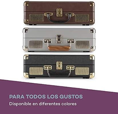 auna Peggy Sue - Tocadiscos con Altavoces , Gramola para Discos de Vinilo , Diseño de Maleta , Puerto USB , Velocidades 33, 45 y 78 RPM , Salida ...