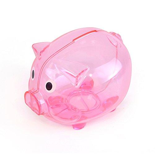 eBuyGB Transparent Plastic Piggy Bank / Money Box (Pink) (Pink Pig Bank)