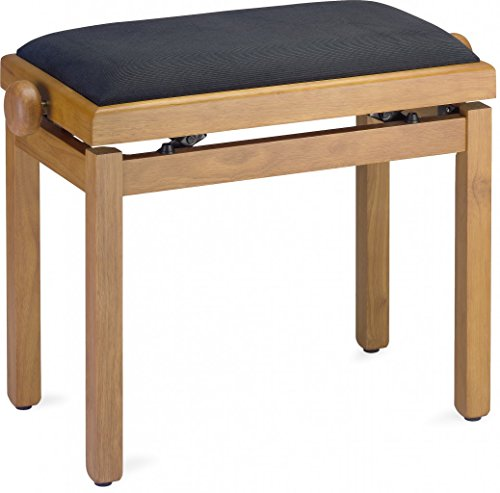 Oak Piano Bench - Stagg PB39 OAKM VBK Piano Bench - Matte Oak Finish with Black Velvet Top