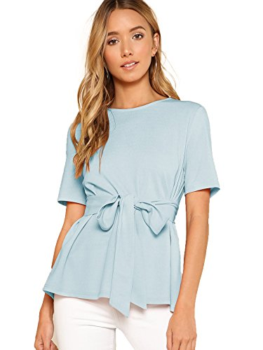 Romwe Women's Casual Self Tie Summer Round Neck Short Sleeve Blouse Tops Blue Small