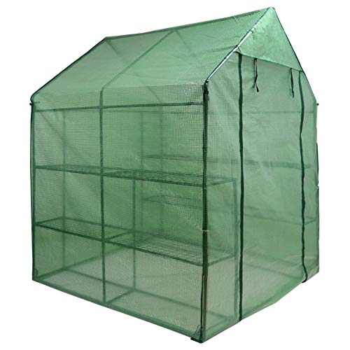 Nova Microdermabrasion Mini Walk-in Greenhouse 2 Tier 8 Shelves with PE Cover and Roll-Up Zipper Door, Waterproof Cloche Portable Greenhouse Tent-57 L x 57'' W x 77'' H, Grow Seeds & Seedlings by Nova Microdermabrasion (Image #1)
