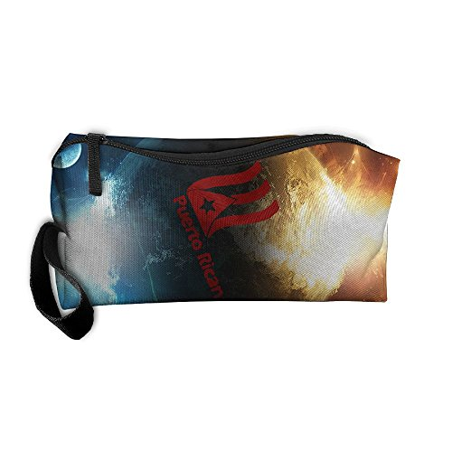 Puerto Rican Red Flag Portable Zipper Storage Bag Portable Travel Storage Bags Kits Medicine And Makeup Bags