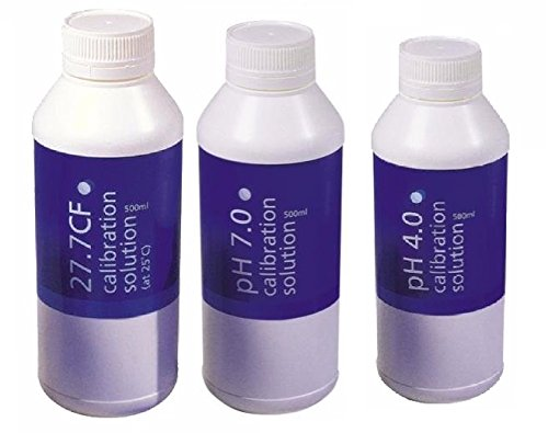- Bluelab Calibration Solution pH 4.0, 7.0 and 2.77 EC Conductivity Solution, 500 ml Each
