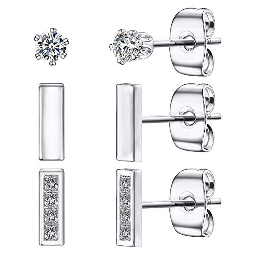 Silver Ear Studs Sterling (Tiny Stud Earrings for Women, 925 Sterling Silver Bar Earring CZ Simulated Diamond Ear Stud Set Brilliant Cubic Zirconia Inlaid(Silver/3 Pairs))
