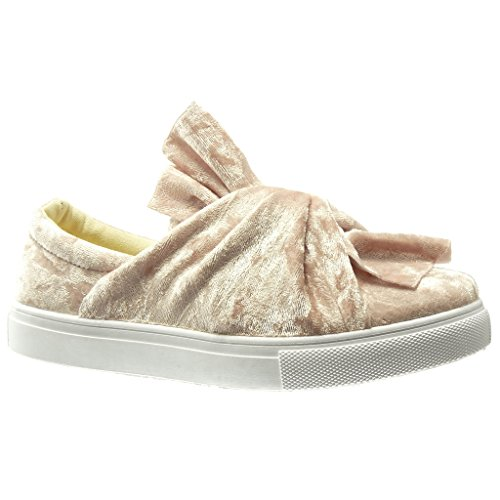 Angkorly - Chaussure Mode Baskets Mocassin basse femme noeud Talon plat 0 CM - Rose