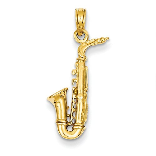 3-D 14 Carats Pendentif Saxophone-Dimensions :  26,2 x 11,7 mm-JewelryWeb