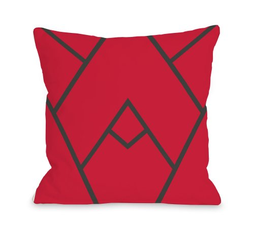 """One Bella Casa Mountain Peak Outdoor Throw Pillow by OBC, 18""""x 18"""", Red from One Bella Casa"""