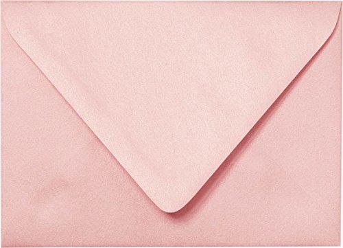 A-7 Rose Pink Metallic Euro Flap Envelopes (5 1/4