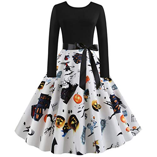 Yxiudeyyr Halloween Dresses Womens Long Sleeve Cocktail Swing Dress Pumpkin Printed Cosplay Party Costume White]()