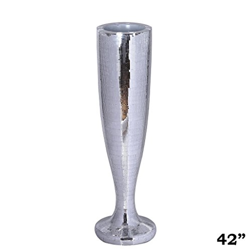 BalsaCircle 2 42'' tall Mirror Mosaic Wedding Vases - Silver by BalsaCircle