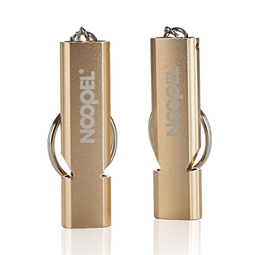 Emergency Survival Whistle Noopel Double Tubes Safety Whistle 2 pack with keychain for Boating Outdoor Camping Hiking Hunting Sports Dog Training (2 Pack Gold)