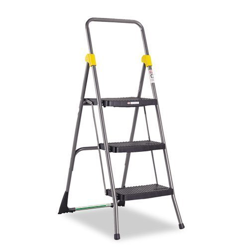 Commercial 3-Step Folding Stool, 300lb Cap, 20 1/2w x 32 5/8d x 52 1/8h, Gray, Sold as 1 Each by COSCO