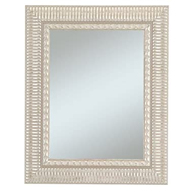 Alpine Art and Mirror Haverhill Collection Wall Mirror in 2-1/2-Inch Wide Decorative Silver Enhanced Frame