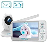 Campark Baby Monitor 4.3 inch Split Screen Video Baby Monitor with Camera and Audio, Smart Night Vision, Room Temperature, Two-Way Talk, 8 Lullabies and High Capacity Battery
