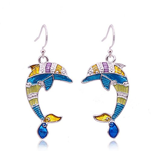 Charm Colorful Enamel Sea Animal Hook Earring -Exquisite Dolphin Starfish Turtle Sea Horse Crab Earrings ()