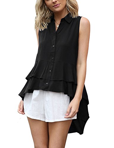 ACKKIA Women's Black Casual High Low Layered Ruffle Buttons Sleeveless Tops Shirt Blouse Size ()