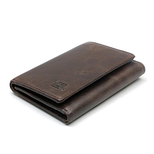 Men's Genuine Leather Slim Trifold Wallet with Full RFID Protection Throughout - Exquisite Quality Buffalo Leather (Whiskey) (Leather Brown Quality)