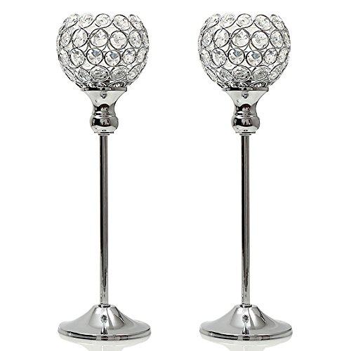 Decorative Holder (VINCIGANT Crystal Modern Candle Holders Pillar New Year Coffee Table Decorative Centerpiece for Wedding Candlelight Dinner Vases Silver,Gift for Dad)