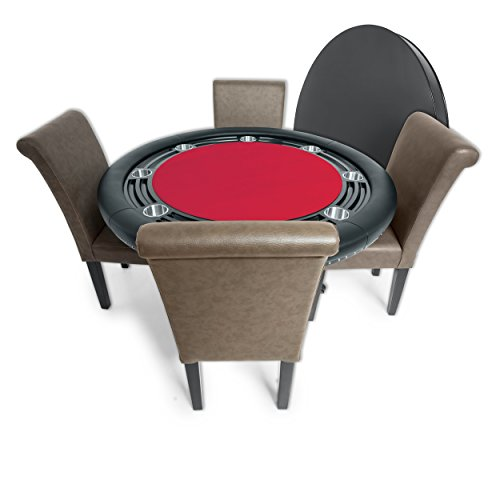 BBO Poker Nighthawk Poker Table for 8 Players with Red Felt Playing Surface, 55-Inch Round, Includes Matching Dining Top with 4 Lounge Chairs
