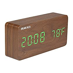 HUAYUN Wooden Alarm Clock, LED Digital Clock,Displaying Date Time Temperature and Voice Touch Activated (Green)