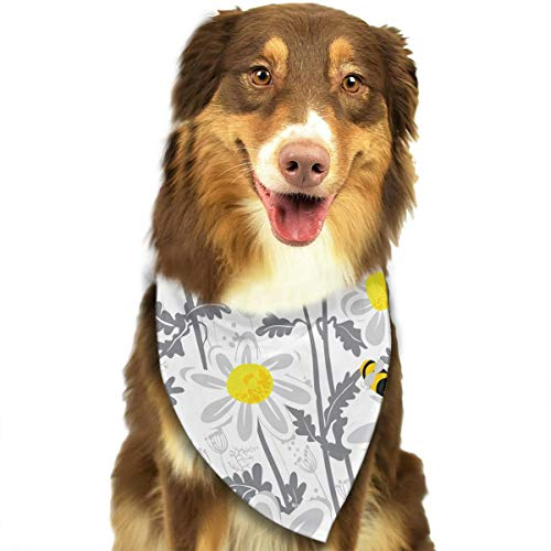 FRTSFLEE Dog Bandana Daisy Flowers with Bees in Spring Time Scarves Accessories Decoration for Pet Cats and Puppies