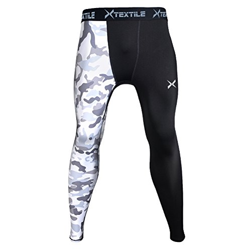Xtextile Mens Sports Compression Pants, Cool Dry Sports Tight Leggings for Gym, Basketball, Cycling, Yoga, Hiking (White Camouflage, Medium)