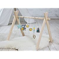 Woodland baby play gym with 6 toys. Bear and bees, Mountain, Star, Teether wood. Wooden baby gym, crochet baby gym toys. Activity center, grey, yellow, mint. Handmade in eastern Europe.