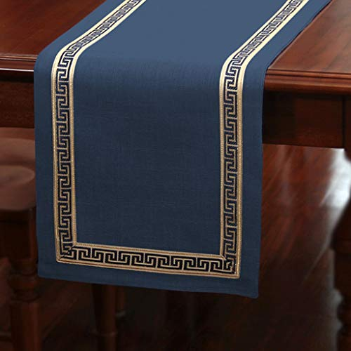 YXN Table Runners/Table Cloth/Braided Cotton/Long Decorative Cloth/Suitable for Dinner, Wedding, Christmas Party/Chinese Style (Color : Navy-, Size : 33×360cm)