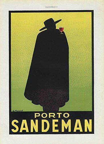 Porto Sandeman wine French ad by G Massiot L'Illustration 1937 1938 (Sandeman Wine compare prices)