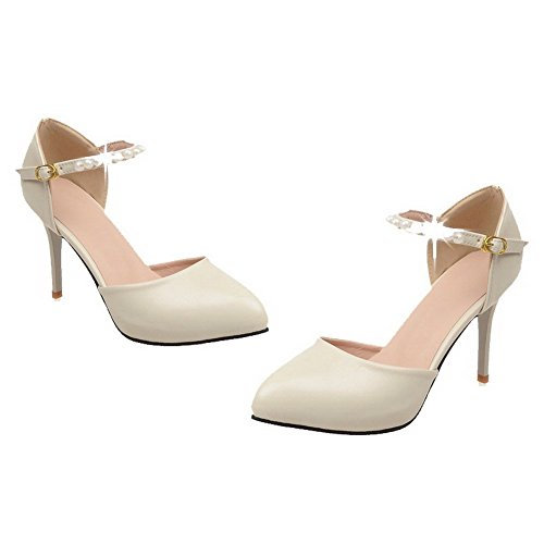 VogueZone009 Women's Buckle High-Heels PU Solid Pointed-Toe Pumps-Shoes Beige 63FWxUwId