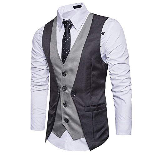 Blazer Couleur Mariage Solide Slim Parti Hommes De Col Tuxedo En Vêtements Gilet V Costume Dunkelgrau Casual Fit x8PzwqwTn