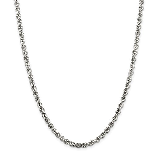 ICE CARATS 925 Sterling Silver 4.5mm Solid Link Rope Chain Necklace 22 Inch Regular Fine Jewelry Gift Set For Women Heart by ICE CARATS