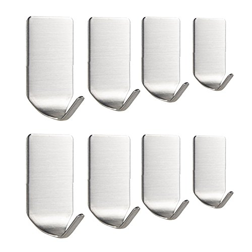 TSJ 3M Sticky Hooks Heavy for Walls 8 Pack Stainless Steel Bath Coat Hooks Nickle Brushed for Door, Bathroom Accessories