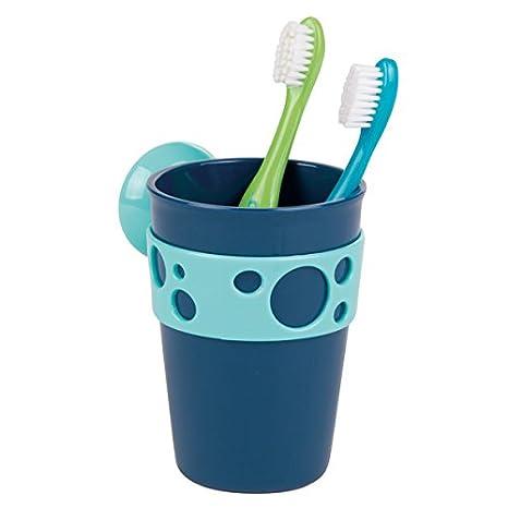 mDesign Porta cepillos de Dientes en PVC para Fijar con ventosas – Soporte Cepillo Dientes para Colocar en la Pared sin perforar – Vaso para cepillos ...