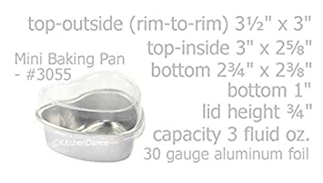 KitchenDance Disposable Aluminum Mini 3.5 ounce Heart Shaped Cake Pans Dessert Pans with Lids- Pack of 100 Silver
