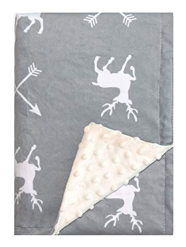 "Deer Minky Baby Blanket for Boys Girls, Soft Grey Baby Blanket Unisex, with Dotted Backing Arrow & Deer Printed Receiving Blanket - for Stroller, Crib, Receiving, Newborn, Toddler(30""x40"")"