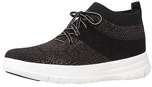 On Slip Bronze (FitFlop Womens Uberknit Slip On High Top Sneakers, Black/Bronze Metallic, US 6.5)