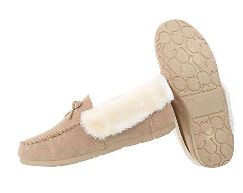 Damen Schuhe Mokassins Warm Gefütterte Beige
