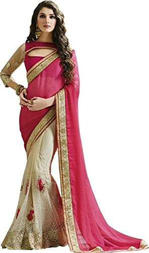 Rewa-Enterprises-Womens-Fashionable-Saree-Free-Size-White