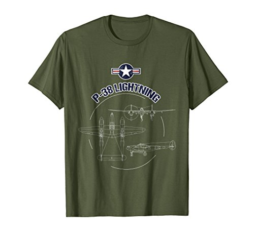 Mens P-38 Lightning USAF Warbird Plane WW2 Airshow T-Shirt 2XL Olive