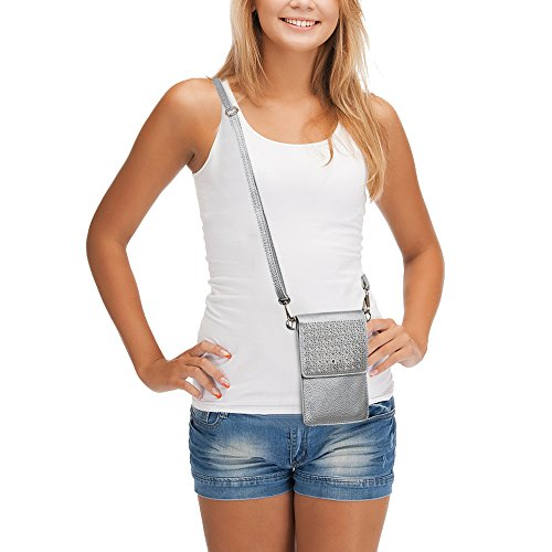 Wallet Cell Phone Bag Leather Crossbody Bags Women Pouch Shoulder Silver Purse Mini Lightweight Small AnsTOP for aTvfxf