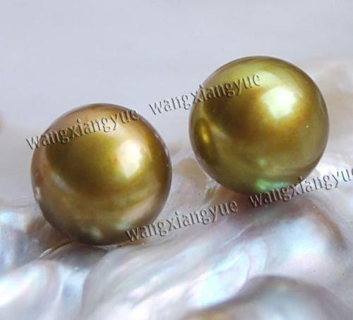 Gozebra(TM) 11-12mm Chocolate Akoya Cultured Pearl Silver Stud Earrings AAA+